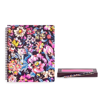 Picture of Vera Bradley Large Notebook & Ballpoint Pen - Wine Blossoms