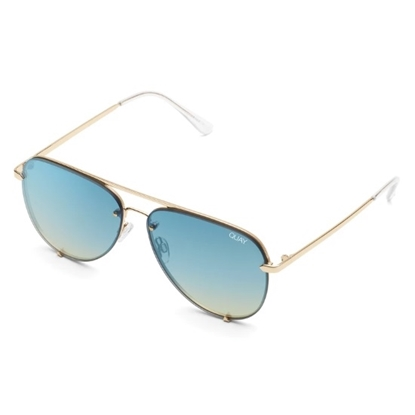 Picture of Quay High Key Rimless Sunglasses - Gold/Blue Turqoise