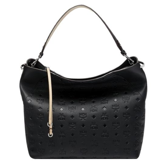 Picture of MCM Klara Large Monogrammed Leather Hobo - Black