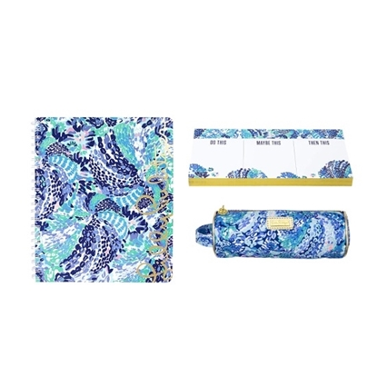 Picture of Lilly Pulitzer Notebook/Notepad/Pencil Pouch - Wave After Wave