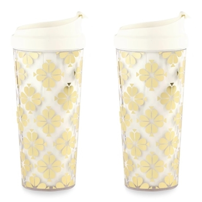 Picture of Kate Spade Set of 2 Thermal Mugs - Gold Spade Flower