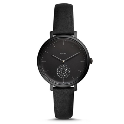 Picture of Fossil Jacqueline Black Dial & Black Leather Watch