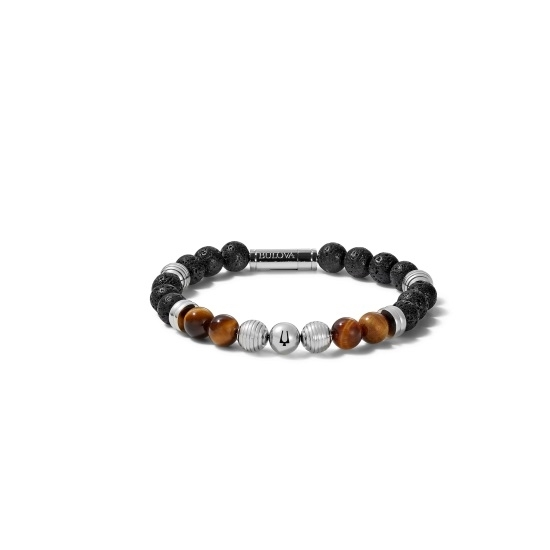 Picture of Bulova Classic Jewelry Men's Black Lava Tiger Eye Bracelet
