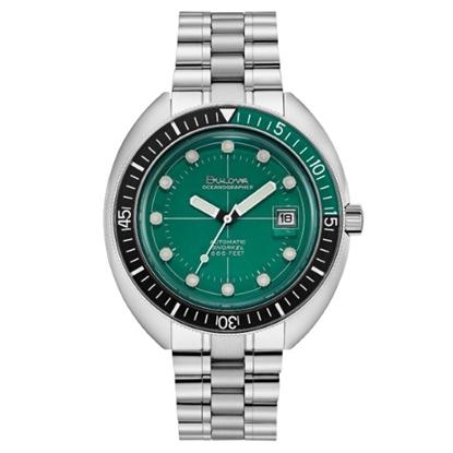Picture of Bulova Men's Oceanographer Steel Watch with Green Dial