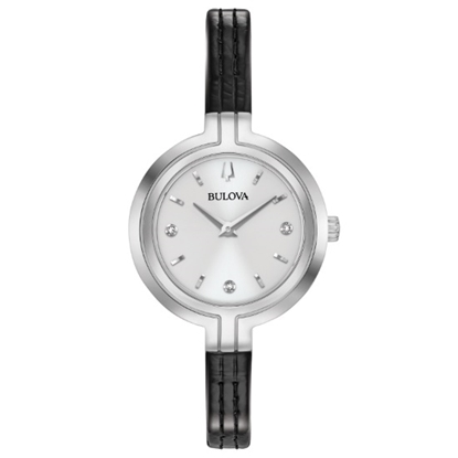 Picture of Bulova Ladies' Skinny Black Leather Watch with White Dial