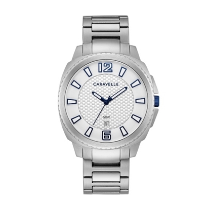 Picture of Bulova Caravelle NY Men's Watch with White Dial & Blue Markers