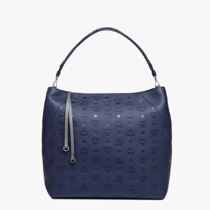Picture of MCM Klara Large Monogrammed Leather Hobo - Navy Blue