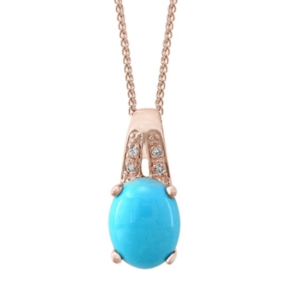 Picture of Lali 14K Rose Gold Diamond and Turquoise Pendant w/ Chain