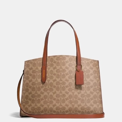 Picture of Coach Coated Canvas Signature Charlie Carryall- Rust