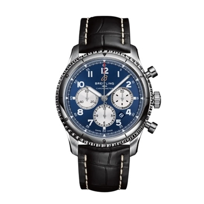 Picture of Breitling Aviator 8 B01 Chrono 43 with Black Strap & Blue Dial