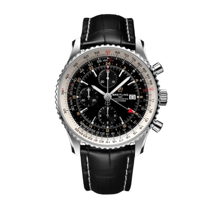 Picture of Breitling Navitimer Chrono GMT 46 with Black Alligator Strap
