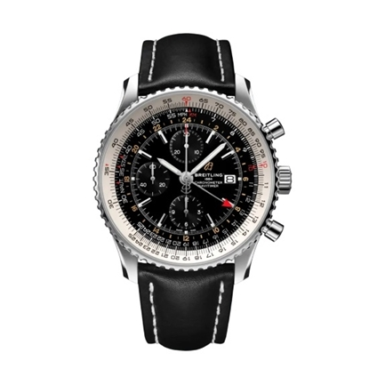 Picture of Breitling Navitimer Chrono GMT 46 - Black Dial/Leather Strap