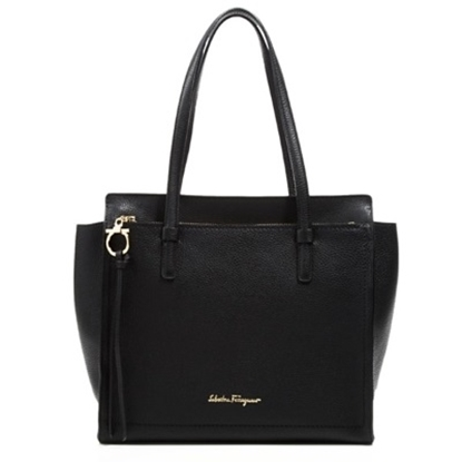 Picture of Salvatore Ferragamo Medium Amy - Black/Gold