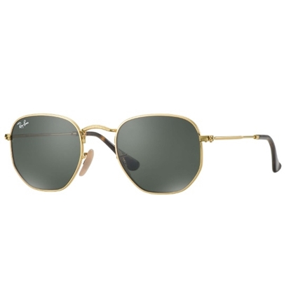 Picture of Ray-Ban® Hexagonal Flat - Gold with Green Classic Lens