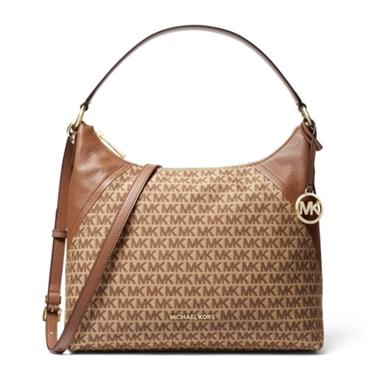 Picture of Michael Kors Aria Large Shoulder - Beige/Ebony
