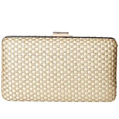 Picture of Jessica McClintock Noelle Woven Minaudiere - Light Gold