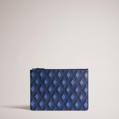 Picture of Dunhill Cadogan Small Zip Folio - Blue