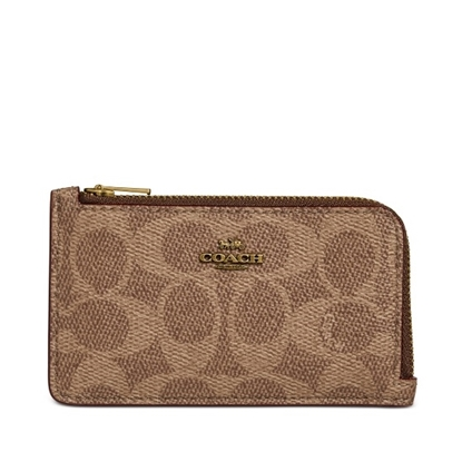 Picture of Coach Signature Small L-Zip Card Case - Brass/Tan Pink