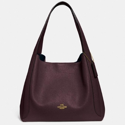 Picture of Coach Leather Hadley Hobo - Gold/Oxblood