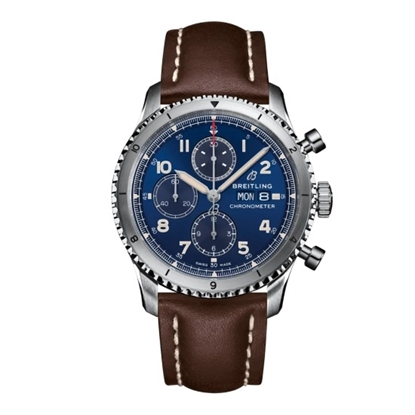 Picture of Breitling Aviator 8 Chrono 43 with Leather Strap & Blue Dial