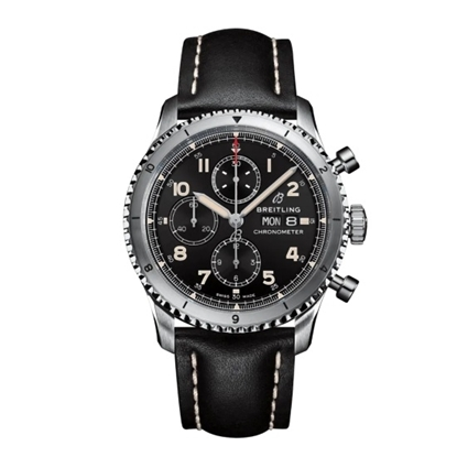 Picture of Breitling Aviator 8 Chrono 43 with Black Dial & Leather Strap