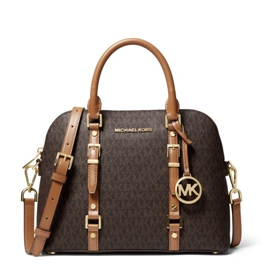Picture of Michael Kors Bedford Legacy Signature Dome Satchel - Brwn/Acrn