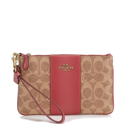 Picture of Coach Colorblock Signature Small Wristlet - Tan Dusty Pink