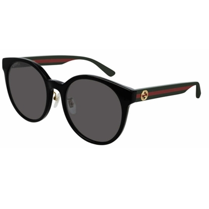 Picture of Gucci Logo Round Frame Sunglasses - Black/Green/Red