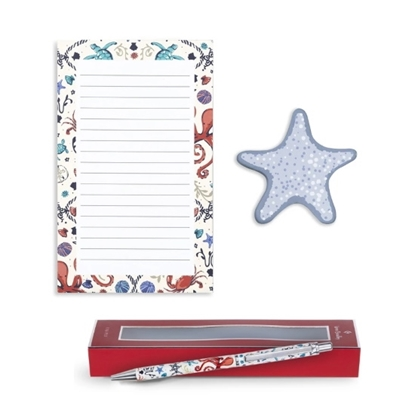 Picture of Vera Bradley Notepad Set with Ballpoint Pen - Sea Life