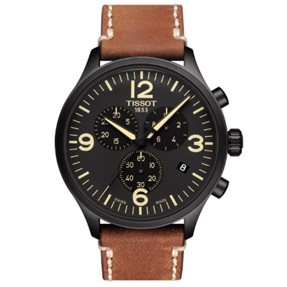 Picture of Tissot Chrono XL Watch with Brown Leather Strap & Black Dial