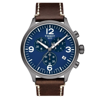 Picture of Tissot Chrono XL Watch with Brown Leather Strap & Blue Dial