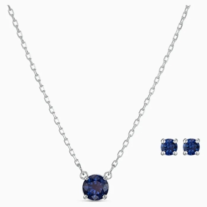 Picture of Swarovski Attract Round Set - Blue/Rhodium