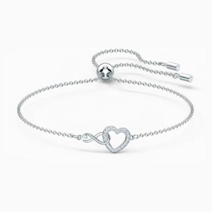 Picture of Swarovski Infinity Heart Bracelet Medium - White/Rhodium