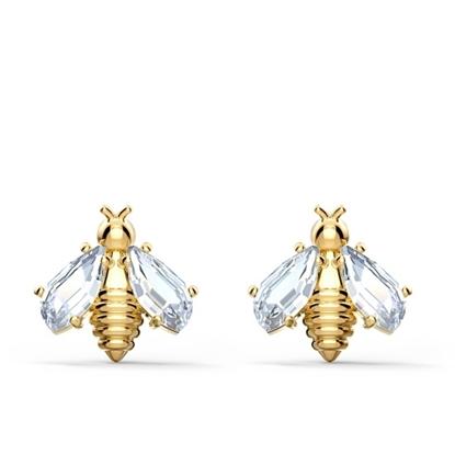 Picture of Swarovski Eternal Flower Bee Pierced Earrings - Gold