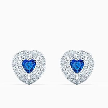Picture of Swarovski One Stud Pierced Earrings - Blue/Rhodium