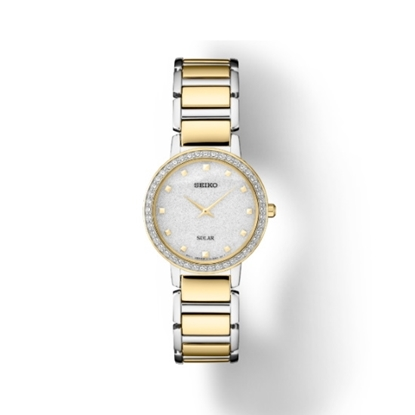 Picture of Seiko Crystals Two-Tone Steel Watch with Silver Glitter Dial