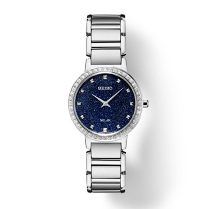 Picture of Seiko Crystals Stainless Steel Watch with Blue Glitter Dial