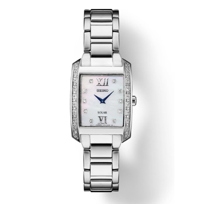 Picture of Seiko Diamond Stainless Steel Watch with Rectangular Dial
