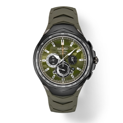 Picture of Seiko Men's Coutura Chrono Watch with Camo Dial & Green Strap
