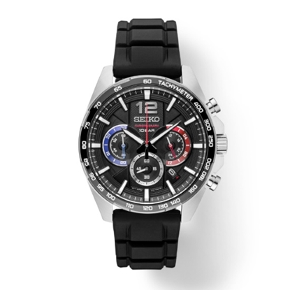 Picture of Seiko Essentials Chrono Watch with Black Dial & Rubber Strap