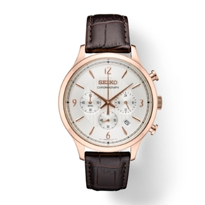 Picture of Seiko Essentials Rose Gold-Tone Watch with Brown Leather Strap