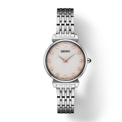 Picture of Seiko Ladies Stainless Steel Crystals Watch with Pink MOP Dial