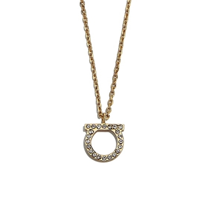 Picture of Salvatore Ferragamo Gancini Crystal Necklace - Gold