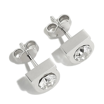 Picture of Salvatore Ferragamo Crystal Gancini Earrings - Silver