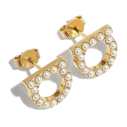 Picture of Salvatore Ferragamo Crystal & Pearl Earrings - Gold