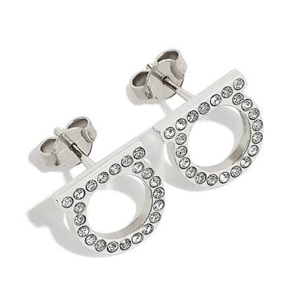 Picture of Salvatore Ferragamo Gancini Crystal Earrings 12mm - Silver