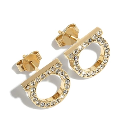 Picture of Salvatore Ferragamo Gancini Crystal Earrings 12mm - Gold