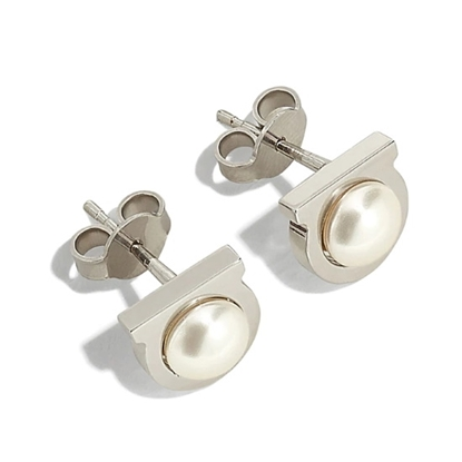 Picture of Salvatore Ferragamo Gancini Pearl Earrings - Silver