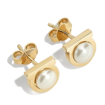 Picture of Salvatore Ferragamo Gancini Pearl Earrings - Gold