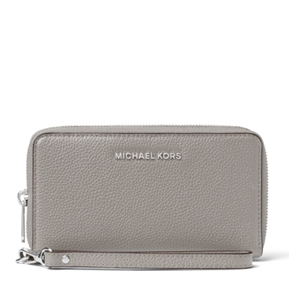 Picture of Michael Kors Large Leather Smartphone Wristlet - Pearl Grey